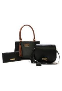Bolsas Feminina Média Bicolor E Pequena Mais Carteira Santorini Handbag Preto/Marrom