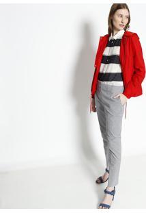 Camisa Listrada Com Seda- Off White & Preta- Lacostelacoste