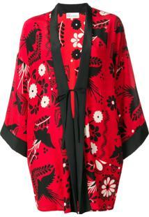 Red Valentino Quimono Com Estampa Floral - Mmo Fiamma