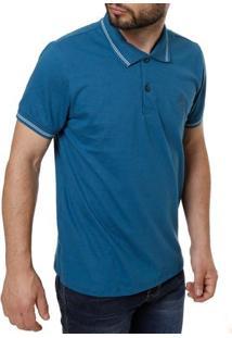 Polo Manga Curta Masculina Azul