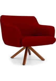Poltrona Decorativa Para Sala De Estar Jade Veludo Marsala B-278 - Lyam Decor - Vermelho - Dafiti