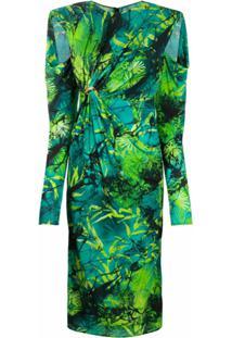 Versace Vestido Midi Franzido Com Estampa - Verde
