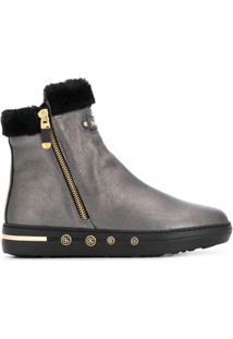 Baldinini Ankle Boot Com Pelo De Cordeiro - Cinza