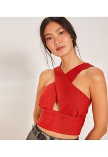 Blusa Cropped Texturizada Com Transpasse - Vermelhapop Up