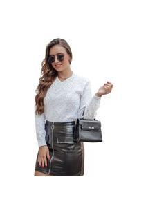 Blusa Tricot Linda Feminina Shopping Do Tricô Inverno Gola V