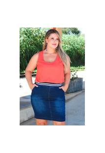 Saia Curta Almaria Plus Size Fact Jeans Fenda Posterior Jeans Azul