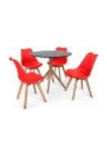 Conjunto Mesa De Jantar Maitê 80Cm Preta Com 4 Cadeiras Eames Wood Leda - Vermelha