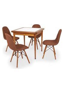 Conjunto Mesa De Jantar Em Madeira Imbuia Com Azulejo + 4 Cadeiras Botonê - Marrom