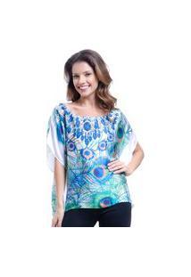 Blusa 101 Resort Wear Poncho Ombro A Ombro Crepe Cetim Estampado Penas Azul