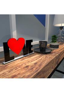 Escultura De Mesa Preto Love Heart Vermelho Único