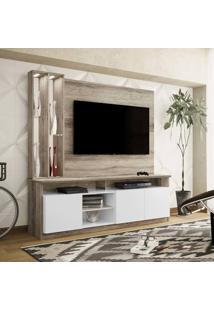Estante Home Theater Para Tv Até 50 Polegadas 3 Portas Com Espelho, Vidro E Led Ópera Castanho Rústico/Branco Neve - Colibri