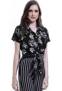 Camisa 101 Resort Wear De Amarrar Tricoline Floral Estampada Preto