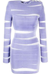 Balmain Sheer Cut-Out Bodycon Dress - Roxo