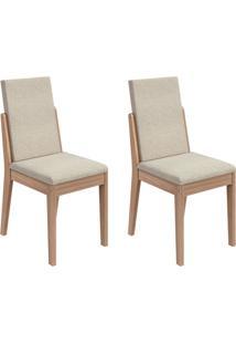 Conjunto De Cadeiras De Jantar 2 Lira Linho Carvalho E Creme