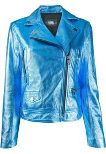 Karl Lagerfeld Jaqueta Biker Metálica - Azul
