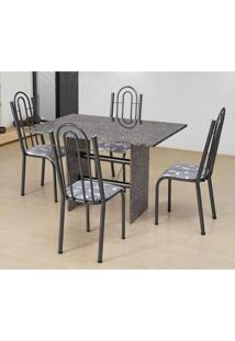 Conjunto De Mesa Com 4 Cadeiras Pietra Craqueado Preto E Branco