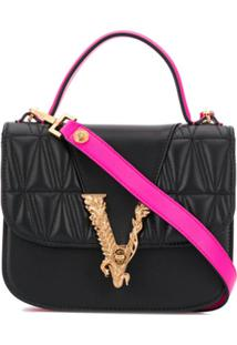 Versace Logo-Plaque Quilted Tote Bag - Preto
