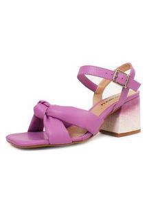 Sandália De Salto Bloco Damannu Shoes Yara Lilás Lavanda