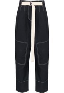 Lee Mathews Bonnie Belted Cotton-Canvas Wide-Leg Trousers - Azul