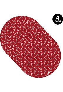 Sousplat Mdecore Natal Bengala 32X32Cm Vermelho 4Pçs