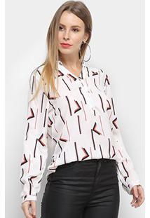 Camisa Adooro Manga Longa Estampada Feminina - Feminino-Branco