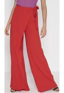 Calça Pantalona Transpassada Com Amarração - Laranjalança Perfume