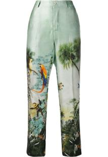 F.R.S For Restless Sleepers Calça Cropped Com Tropical - Verde