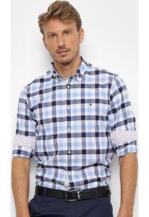 Camisa Tommy Hilfiger Masculino Slim Grid Check Shirt Masculina - Masculino-Azul