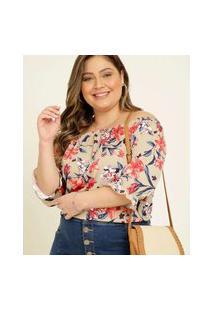 Blusa Plus Size Feminina Ciganinha Floral