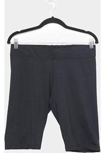 Shorts Naif Suplex Plus Size Feminina - Feminino-Preto