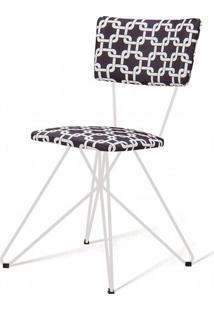 Cadeira Pop Estampa Rolls Preto Base Estrela Branca - 49568 - Sun House
