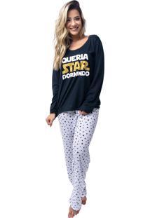 Pijama Longo Rb Moda Star Preto Ref:059
