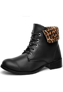 Bota F'S Look Animal-Print Oncinha Preto