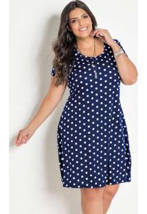 Vestido Soltinho Plus Size Poá Azul