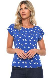 Blusa Mercatto Andorinhas Azul