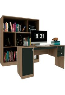 Escrivaninha Com Estante Home Office I Avelã E Ônix