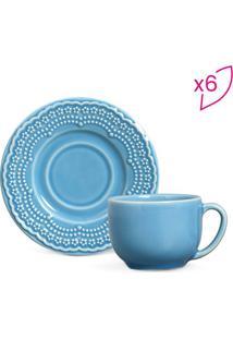 Jogo De Xícaras De Chá Madeleine- Azul- 12Pçs- 1Porto Brasil