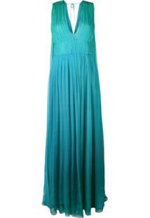 Alberta Ferretti Vestido Sem Mangas Com Franzidos - Azul