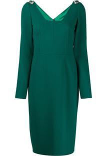Dolce & Gabbana Vestido Midi Com Aplicações Nos Ombros - Verde