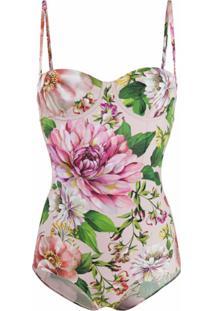 Dolce & Gabbana Maiô Com Estampa Floral - Rosa