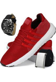 Tênis Sport Rebento Para Corrida Vermelho Com Cinto E Relógio