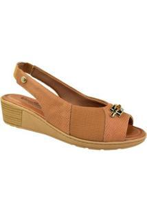 Sandália Usaflex Peep Toe Comfort Feminina - Feminino-Bege