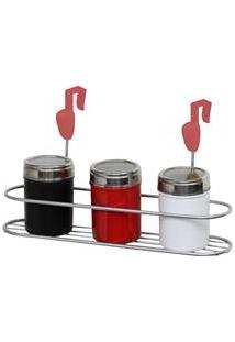 Suporte Para Condimentos Gotas Metaltru - Metalic Cromo/Vermelho