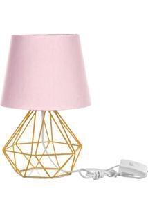 Abajur Diamante Dome Rosa Com Aramado Amarelo - Rosa - Dafiti