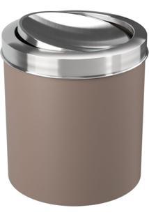 Lixeira Coza Com Tampa Basculante Inox Warm Gray Marrom - Kanui