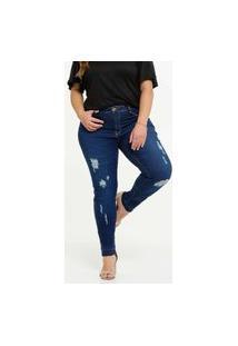 Calça Plus Size Feminina Jeans Skinny Destroyed