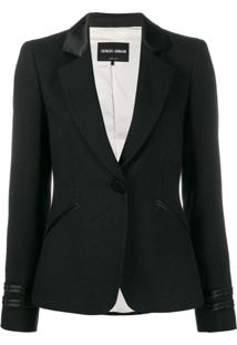 Giorgio Armani Faux Leather Trim Blazer - Preto