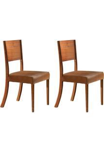 Conjunto Com 2 Cadeiras De Jantar Escócia Imbuia E Caramelo
