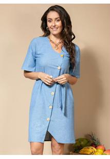 Vestido Chemise Azul Com Mangas Amplas E Bolsos