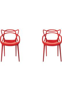 Kit 2 Peças Cadeira Allegra Masters De Polipropileno Rivatti Vermelha